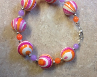 Colourful citrus Orange and Purple wooden summer bracelet. New