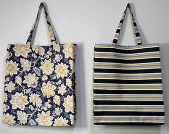 Floral Print Tote Bag,  Reversible Tote Bag, Handmade Tote Bag, Lined Tote Bag, Canvas Bag, Beach Bag, Large Tote Bag, Fabric Tote Bag