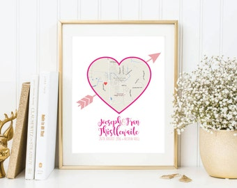 Wedding or Anniversary Gift Print Map