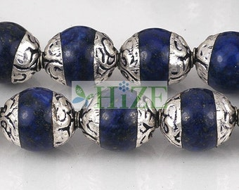 HIZE TBE13 Tibetan Nepalese Silver Capped Lapis Barrel Beads 10mm (6)