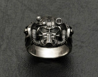 Brotherhood of Steel Helmet ring inspired by Fallout made from white bronze