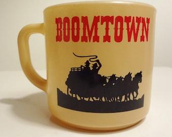 Boomtown Casino mug - vintage advertising - Federal glass - milk glass - vintage mug - Reno