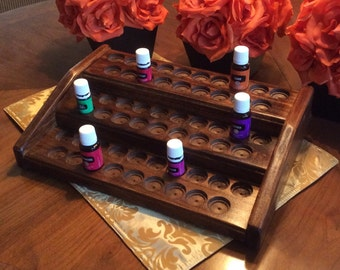 Essential oils rack / display ~ essential oil shelf holds 57 bottles ~ 3 tier wood rack holds 5ml & 15ml ~ GIFT WITH PURCHASE 'til 6/11/17!