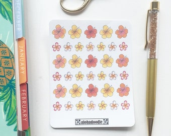 Hibiscus and Plumeria Planner Stickers