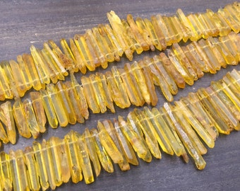 Raw Yellow Quartz Crystal Points Frosted Matte Quartz Points Graduated Quartz Stone Beads Raw Rough Mystic Crystal Stick beads 5-7*20-45mm