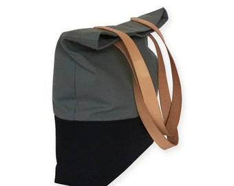 Canvas Tote  Leather Handles. Shoulder Bag. Grey and Black Canvas