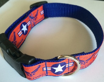Handmade US Air Force dog collar Adjustable nylon