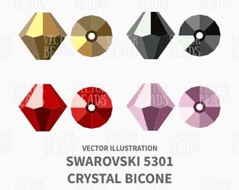 Swarovski Bicone 5301 Vector Illustration - Bead Vector Graphics