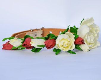 Marsala Wedding dog collar,Flower dog collar,marsala  rose,white rose, rose, leather dog collar