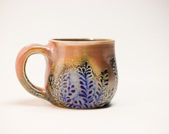 Brown Mug with Blue Plant Carving, coffee cup, stoneware cup, tea cup, stoneware mug