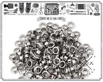 4MM Hole 100PCS Silver Grommets Eyelets for Bead Cores, Clothes, Leather, Canvas