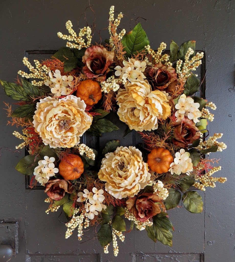 Cream Fall Wreath Pumpkin Wreath Thanksgiving Wreath Autumn