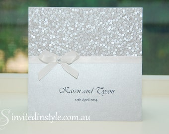 Silver & white, embossed pebble paper wedding invitation, pocket style - PERSONALISED SAMPLE