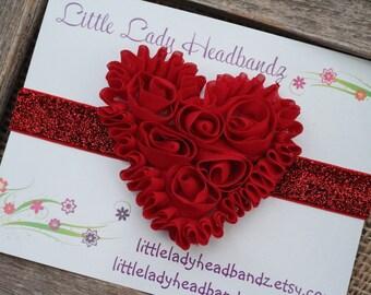 Red heart headband - chiffon heart baby headband glitter sparkle - toddler headband