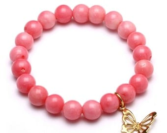 Coral Beaded Bracelet with Sterling Silver Charm, Unique only 1 piece available! , color pink, #43503