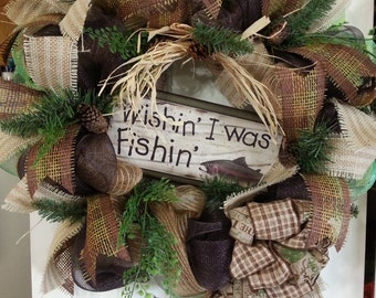 Camping/Father's Day/Fishing/Mother's day wreath/Summer/Mesh Wreath/Made to order