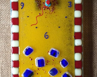Goldenrod fused glass wall clock