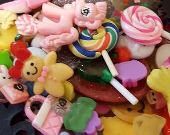 Cabochon Lot, Kawaii Decoden Cabochons, Super Cute B Grade Kawaii Decoden Cabochons lot of 100