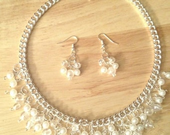 Pristine dew drop pearl necklace with matching earings