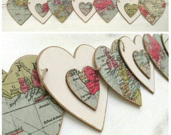 Old World Trade Route Map wooden bunting