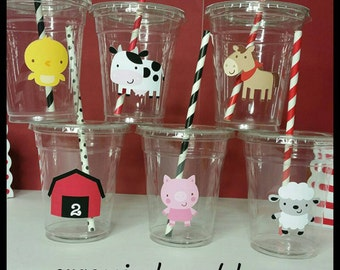 12 Farm Animal Themed Party Cups with Striped Straws and Lids!, Barnyard Bash Plastic Party Cups