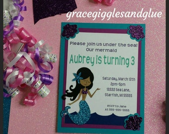 10 Glitter Mermaid Themed Invitations, Under the Sea Invitations , Metmaid Baby Shower Invitations