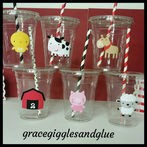 12 la granja animal tazas fiestas tem tica con pajitas de - Vasos para cumpleanos infantiles ...