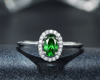 Tsavorite Garnet Ring Tsavorite Diamond Halo Ring 14K White Gold Green Garnet Ring