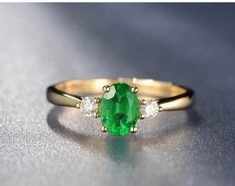 0.83ct Emerald Diamond Engagement Ring Emerald Diamond Ring 14K Yellow Gold