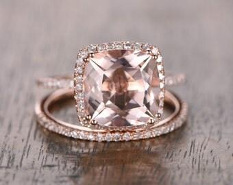 9mm Cushion Cut Pink Morganite Ring Set 14K Rose Gold Morganite Engagement Ring Pave Diamond Wedding Band Morganite Wedding Ring Set