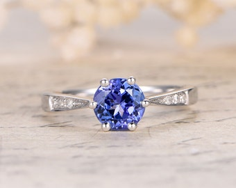 1.15ctw Tanzanite Engagement Wedding Ring,14K White Gold,AAA Round Tanzanite,Blue Gemstone,6-Prongs,Diamond Wedding Band,Propose ring