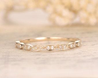 Valentine Wedding Bands Half Eternity Band Bezel Engagement Ring Bezel Set Ring Art Deco Wedding Band in 14k Yellow Gold Marquise Ring