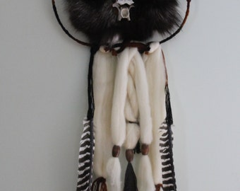 Silver Fox Dreamcatcher Bones/Feathers/Beads Taxidermy