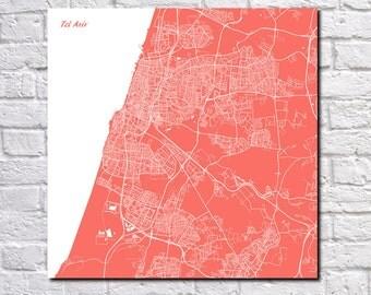 Tel Aviv Street Map Print Map of Tel Aviv City Street Map Israel Poster Wall Art 7081S