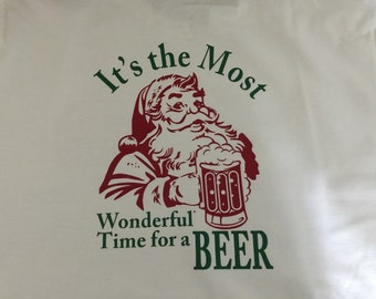 Its the most wonderful time for a beer christmas shirt! Personalized with a monogram on the front!