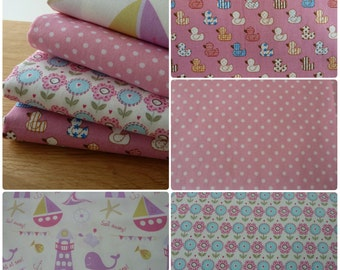 Childrens Pink Fabric Bundle 4 Fat Quarters 100% Cotton - Flowers Spots, Boats & Whales. Great for the Nursery - Playroom - Bedroom.