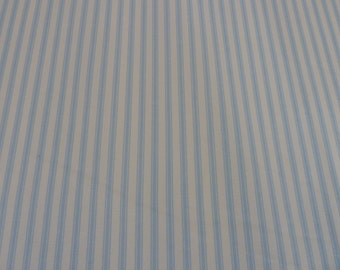 Duck Egg Blue Stripe Fabric - 100% Cotton Poplin - Quality Fabric - Quilting - Dressmaking - Soft Furnishings - Cushions - Bags - Crafts