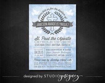Watercolor Baptism Printable Invitation