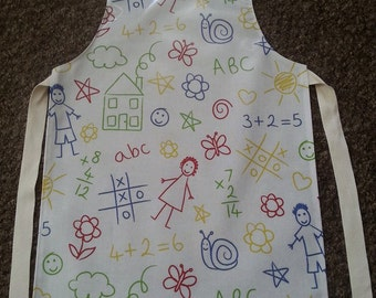 Child's Wipeable Scribbling detail Oil Cloth Apron