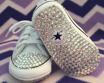 BABY All White Bling Converse