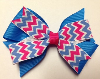 "4"" hot pink capri blue white chevron hair bow clip baby toddler teen birthday party favor diva Christmas holiday stocking stuffer"