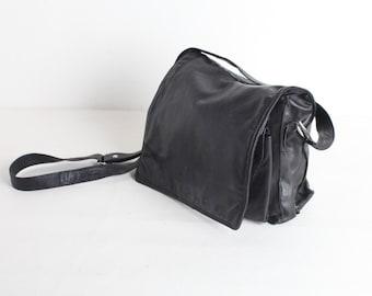 Vintage Black Leather Satchel Bag, Women's Black Purse
