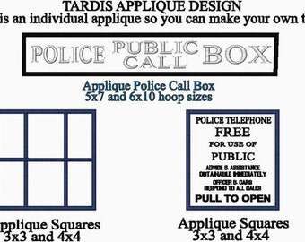 Doctor Who Inspired Police Public Call Box - Window Applique - Pull to Open applique - for EMBROIDERY MACHINE