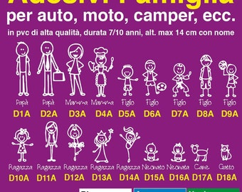 Family on board stickers personalized car, motorcycle, caravan. Family sticker