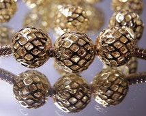 3Pc Gold Mesh Net 3/8 Bead Charm For Pandora European Bracelet Buy5=Free Shipping for 4. Plus You are buying 3 for the price of 2