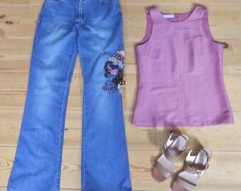 Shot-silk sleeveless blouse