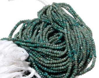 ON SALE 50% 5 Strands Chrysocolla Beads, 3.5mm Faceted Beads, Chrysocolla Rondelles, Gemstone beads 13.5 Inch Strand, SKU-Aa35