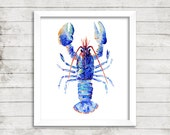 Lobster Watercolor Print. Lobster Art Print.  Blue Lobster. Lobster Illustration. Nautical Print. Coastal Art. Coastal Print.