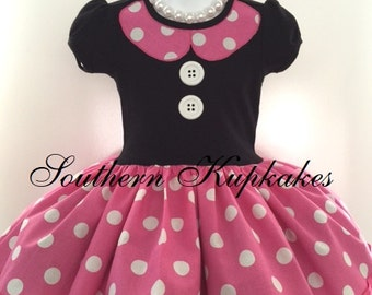 MINNIE MOUSE BiRthday Disney Inspired Twirl Dress Custom Costume BOUTIQUE Pageant Party All Sizes Pink White Black Polka Dots Gift
