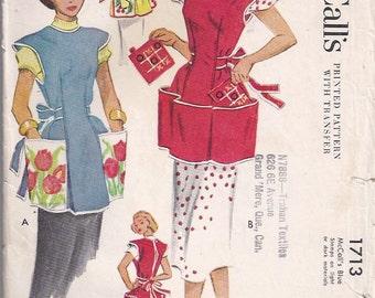 Misses Cobbler Apron Pattern -  1950s